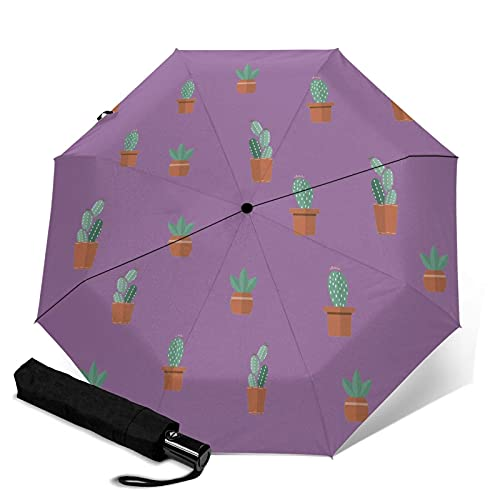 MAJMIN Paraguas plegable automático de plantas en maceta, sombrilla, lluvia o paraguas de brillo, Negro, Taille unique