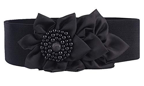Nanxson Damas Retro Elástico Ancho Perla Flores Obi Cinturón PDW0050 (L, Negro)