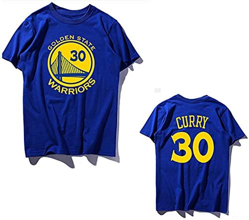 Grungy 30# Camiseta Algodón Adolescente Baloncesto Manga Corta Deportes Chaqueta Acogedora, Top, Azul, Blue - XXL