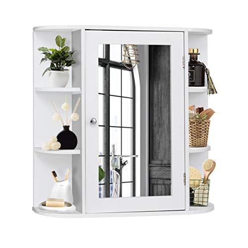 DREAMADE Spiegelschrank Bad, Badezimmerschrank Wandschrank mit Spiegel, Hängeschrank Badschrank Spiegel mit Ablagefläche, aus Holz, Weiß
