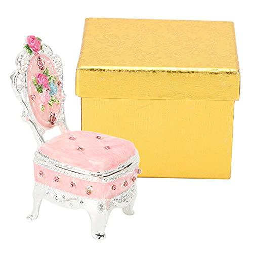 Cyrank Joyero Vintage, Caja de baratijas en Forma de Silla para Mujeres, Caja de Almacenamiento de Collar de Pendientes de Anillo para niñas