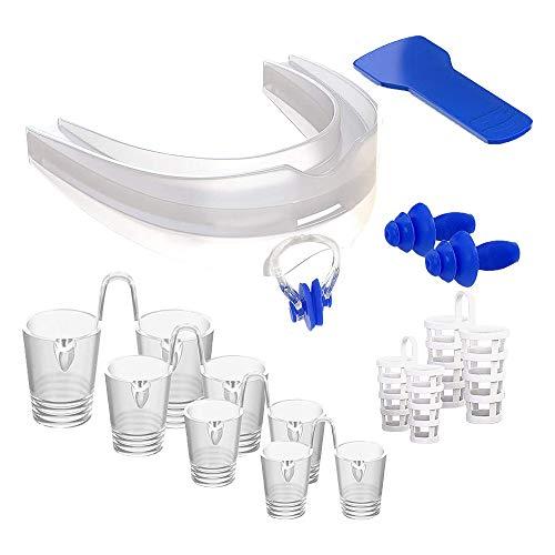 ISOTRONIC Juego completo de protección antirronquidos Premium Advance 2020 para cualquier tipo de nariz | Incluye dilatadores nasales de diferentes tamaños, protector dental y tapones para los oídos