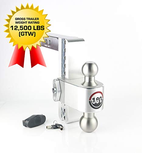 """Weigh Safe LTB8-2, 8"""" Drop 180 Hitch w/ 2"""" Shank/Shaft, Adjustable Aluminum Trailer Hitch & Ball Mount, Stainless Steel Combo Ball (2"""" & 2-5/16"""") and a Double-pin Key Lock"""