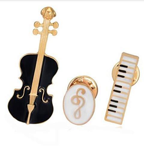 Set mit 3 Pins, Violine, Keyboard und Notenschlüssel