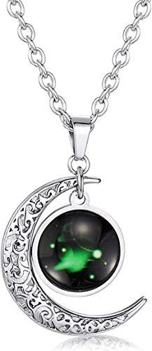 DUEJJH Co.,ltd Collar 12 Constelación Luminoso Estrella y Luna Collar Combinación Regalo de cumpleaños Astrología Acero de Titanio Símbolo de la Suerte Colgante-Símbolo de Aries