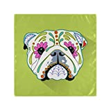 RAUP Satin Napkins Set of 6, Day Dead Mexican Folk Art Dog,Square Printed Party & Dinner Cloth Napkins,20' X 20'