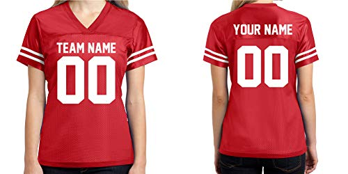 Custom Football Jersey Womens Shirt Make Your OWN 2 Sided Personalized Team Uniforms Red