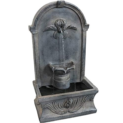 Sunnydaze Indoor or Outdoor Wall Mounted Fountain - French-Inspired Design - Glass Fiber Reinforced Concrete - Flat Back Freestanding Outdoor Wall Fountain for Garden or Patio - 28-Inch
