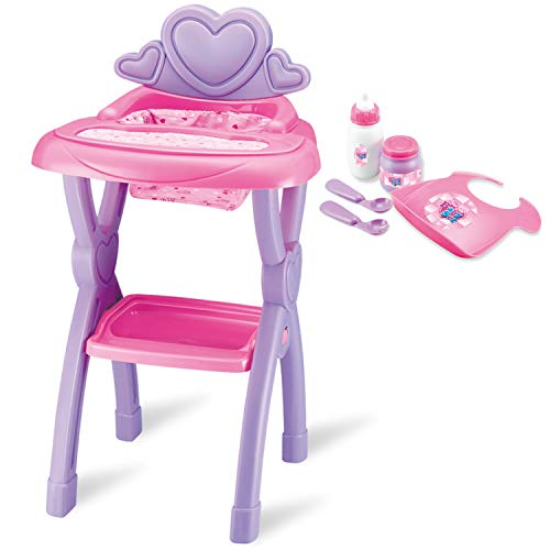 JOYIN Sweet Little Baby Doll High Chair Toy Set for Kids with Milk Bottle, Baby Food Jar, Baby Bib, Baby Spoons Accessories Pretend Play (Fit American Girl Doll)