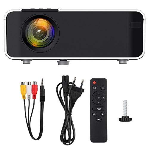 Proyector 3D, W10 1080P Proyector LED Ultra-HD Proyector de Cine en casa de 4000 lúmenes Proyector de Cine en casa portátil Blanco 720P Soporte Dual USB/HDMI/YGA/AV/KTV/Audio(UE)