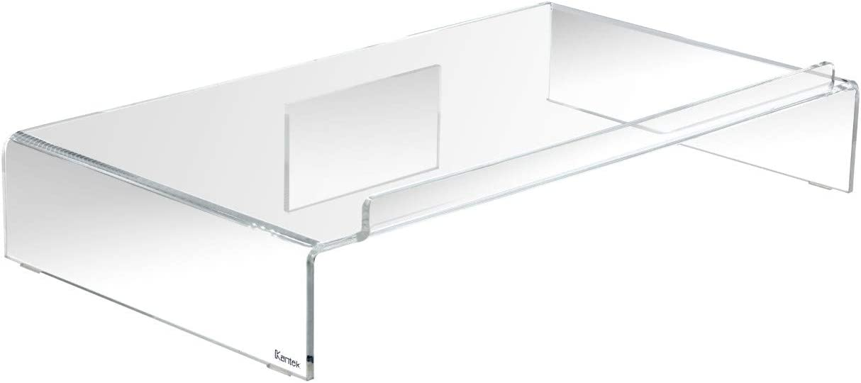Kantek Acrylic Monitor Stand with Keyboard Storage, Holds up to 50 Pounds, 21.25-Inch Wide x 11.9-Inch x 3.4-Inch, Clear (AMS300)