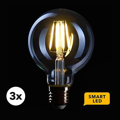 CROWN LED 3 x SMART Filament Glühbirne FL08_S, E27 Fassung, Dimmbar, 6W, 2700K, Warmweiß, 230V, Klare Lampe zur hellen Beleuchtung - Steuerbar per App für das smarte Zuhause