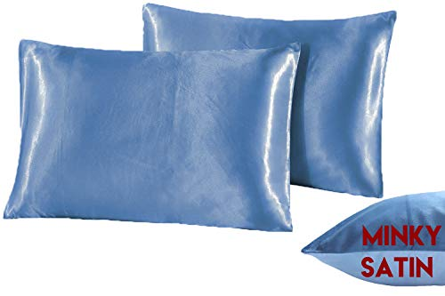 YOOX Zippered Satin Pillowcases for Hair, 2 Pcs Super Soft and Luxury Satin & Minky Pillow Cases King Size, 20 x 40 Inches Pillow Cases with Hidden Zipper, Ocean Blue