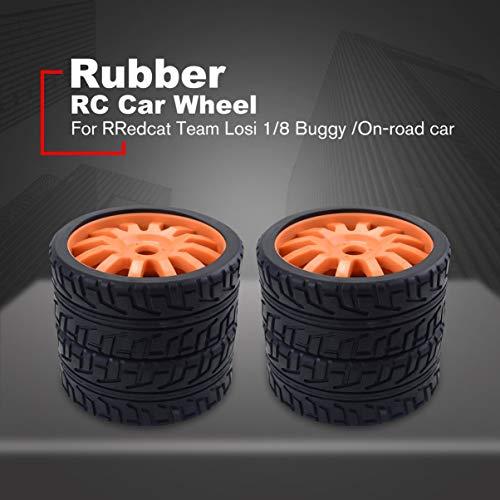 fgjhfghfjghj 4PCS 1/8 RC Autogummireifen Kunststoffräder für Redcat Team Losi VRX HPI Kyosho HSP Carson Hobao 1/8 By/On-Road-Auto