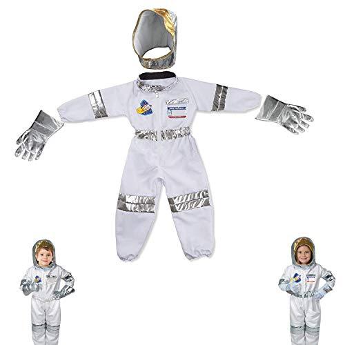 HGNFD Disfraz de Astronauta para niños, Juego de Disfraz de Astronauta, Juego de Disfraz de Astronauta, Pantalones, Guantes, Casco para niños, niñas, Regalo de cumpleaños