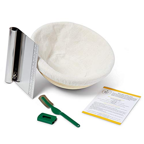 SJK Banneton 9' Round Proofing Basket Kit - 4 Piece - Kitchen Bread Tools - Round Basket, Cloth Liner, Dough Scraper, Bread Lame - Natural Rattan - Easy to Clean - Artisan Bread