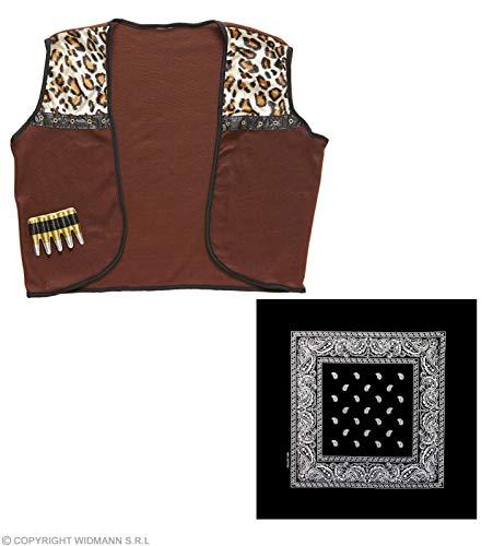 Widmann wdm4300 C - kostuum voor volwassenen vest Cowboy met bandana, bruin, M