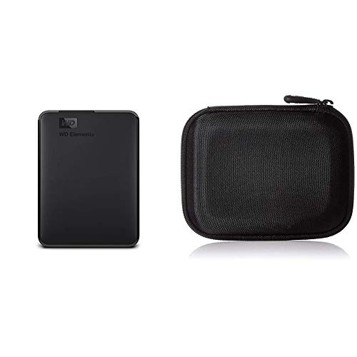 AmazonBasics Funda para Disco Duro Externo, Color Negro, 13.2 x 10.5 x 3.8 cm + Western Digital Elements, Disco Duro, 5 TB, Negro