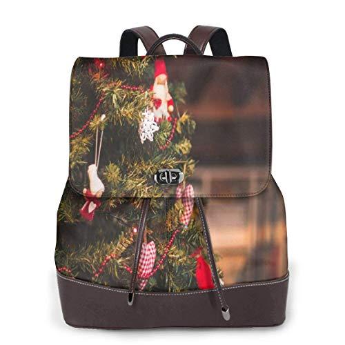 Yuanmeiju Womens Leather Backpack Beautiful Christmas Tree Shoulder Daypack Casual Bag Girls