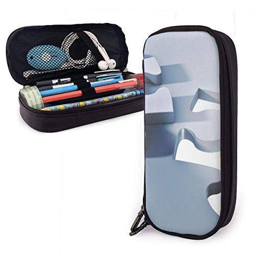 Puzzle Grafik Grafik PU Leder Federmäppchen, langlebige Studenten Briefpapier Organizer mit Doppelreißverschluss elastisch 1,5 Zoll x 3,5 x 8 Zoll