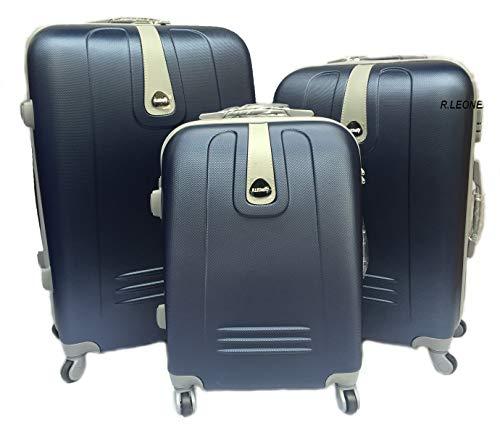 R.Leone Valigia da 1 pezzo Fino a Set 3 Trolley Rigido grande, medio e bagaglio a mano 4 ruote in ABS 188 (Blu, Set 3 S M L)