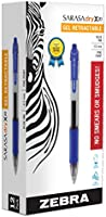 Zebra Sarasa Retractable Gel Ink Pens, Fine Point 0.5mm, Blue, Rapid Dry Ink, 12-Count