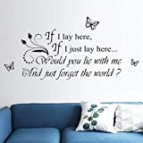 WOCACHI Wall Stickers Decals If I Lay Here Home Decor Wall Sticker Decal Bedroom Vinyl Art Mural Art Mural Wallpaper Peel & Stick Removable Room Decoration Nursery Decor