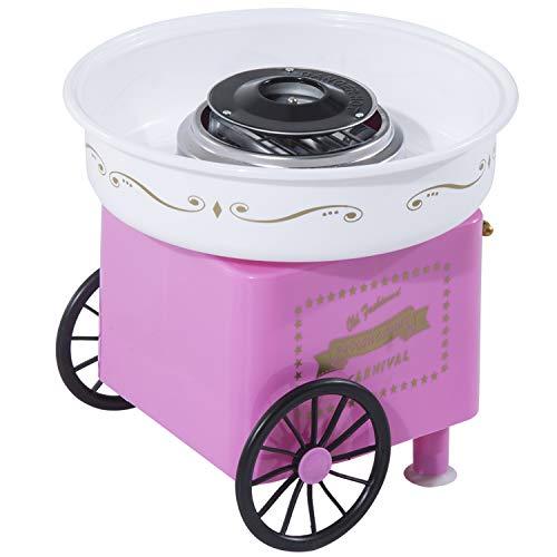 HOMCOM Zuckerwattemaschine Zuckerwattegerät 450 W Zuckerwatte 2 Heizröhren mit 10 Stäbchen Edelstahl Alu (Modell 2/Pink)