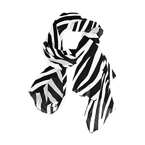 Damen Schal Schwarz Weiß Zebrahaut Mode Schal Wraps Schal Weiche Schals