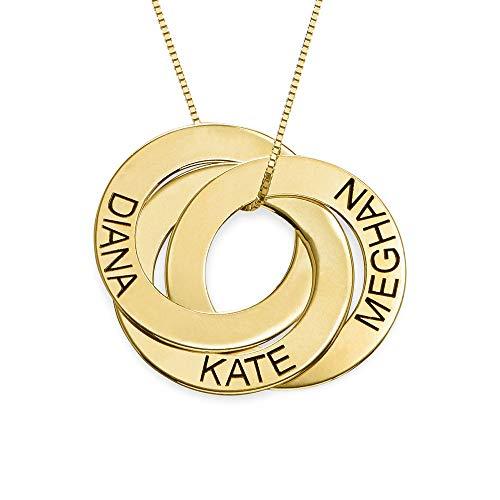 MyNameNecklace Personalized Russian Ring Engraved Name Necklace - Personalized 3 Circles Disc Mother...