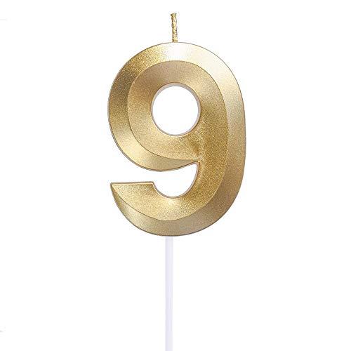 Yue QIN Compleanno Candele Compleanno Candele Numerali Glitter d'oro Candele Candele per Feste e Compleanni per Rifornimenti di Celebrazione di Anniversario di Matrimonio di Compleanno(Numero 9)