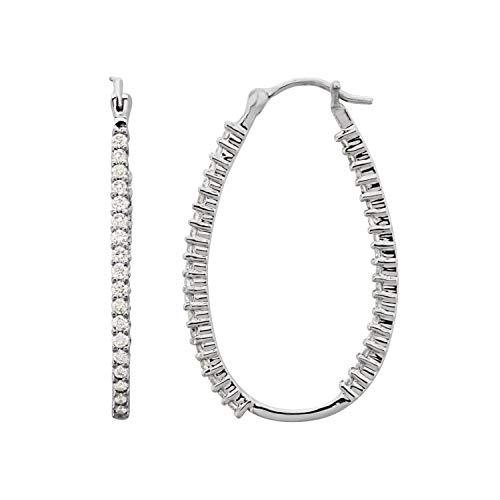 Platinum 1 CTW Diamond - Orecchini a cerchio ovali da donna