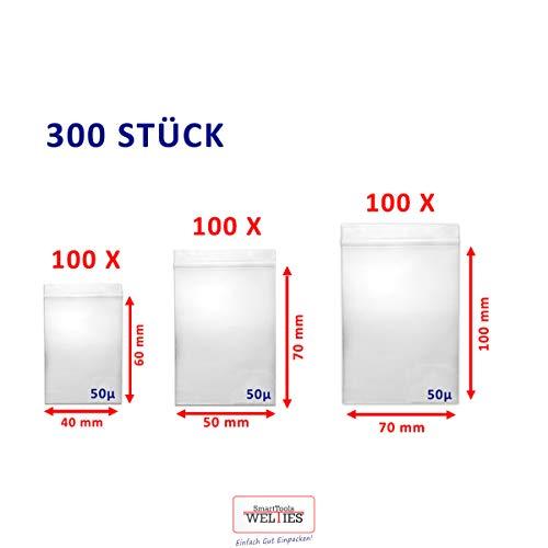 WeltiesSmartTools kleine Druckverschlussbeutel 50my Set 300 Tüten je 100 Stück 40x60 | 50x70 | 70x100 Zip-Beutel Tütchen Bagies zip-bags zipper-bags wiederverschließbar