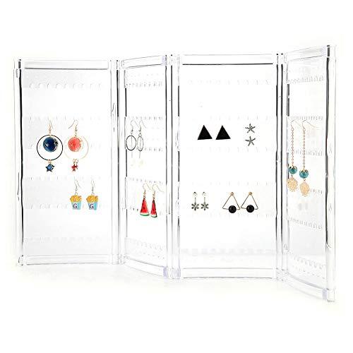 Taidda Soporte de exhibición de Pendientes, Soporte de joyería de plástico de 4 Paneles Pantalla de de Estante de Almacenamiento de Pernos de Oreja Plegables para Mesa de Noch(Transparente)