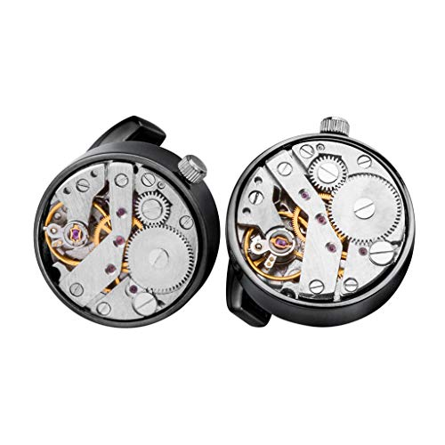 D DOLITY 1 Paar Mode Manschettenknöpfe Uhrwerk Muster Herren Schmuck Zubehör Geschenk - Metallisches Schwarz