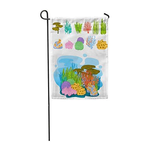 hongwei 12,5 'x 18' Garten Flagge Blaue Aquarium Koralle in der Tiefsee Bunte aquatische Cartoon Home Outdoor Dekor doppelseitige wasserdichte Yard Flags Banner für Party