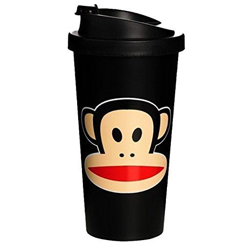 Paul Frank - Tazza con coperchio, design ispirato ai bicchieri di caffè da asporto, colore: Rosso