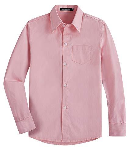 Spring & Gege Garçons Chemises Classique de Couleur Unie Uniforme Scolaire de Coton pour Enfants Rose 9-10 Ans