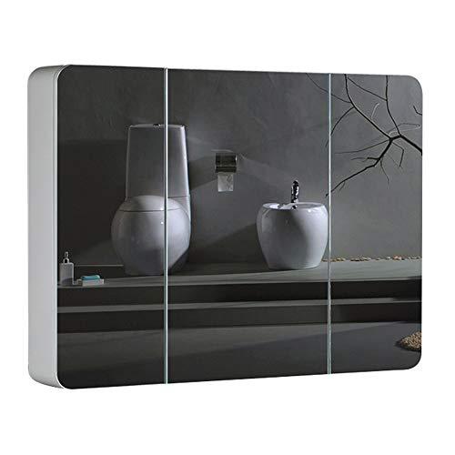 Elegante en mooie 3-deurs spiegelkast, combinatie van badkamerspiegel, cosmetica-rek, grote inhoud, solide houtkleur.