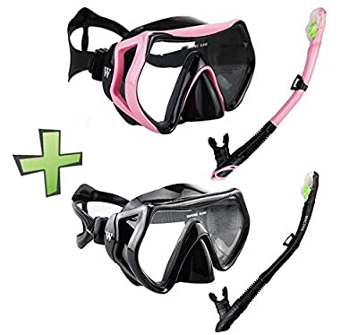 WACOOL Snorkeling Package Set for Adults, Anti-Fog Coated Glass Diving Mask, Snorkel with Silicon Mouth Piece,Purge Valve and Anti-Splash Guard. (Black+Pink)