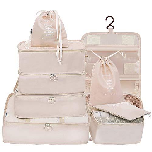 Belsmi Reise Kleidertaschen Set 9 teilig Reisetasche in Koffer Reisegepäck Organizer Kompression Taschen Kofferorganizer Mit Schuhbeutel Hängender Kulturbeutel (Beige) (Beige)