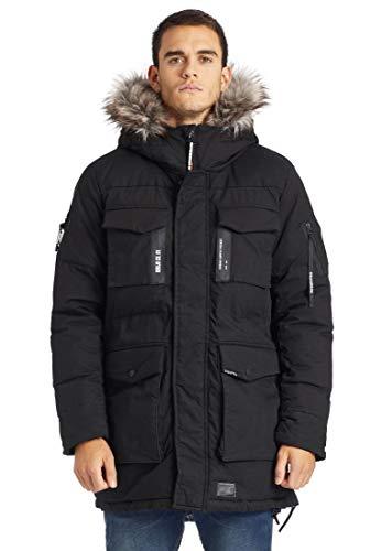 khujo Herren Parka Paul Winterjacke Mantel Winter Jacke (L, schwarz)