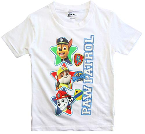 Paw Patrol - Helfer auf Vier Pfoten T-Shirt Jungen Kurz (Weiß, 104-110)
