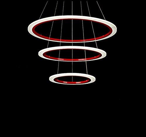 LED kroonluchter restaurant postmodern acryl rood driewieler LED kroonluchter plafondlamp hotel engineering verlichting home verlichting hanglamp slaapkamer hanglamp eenvoudige staande lamp duplex verstelbare kabel hanglamp 120cm