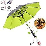Tehok Sunny and Rainy Umbrella with Fan and Spray Long-Handle Summer Umbrella,D