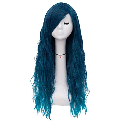 Ruina Blonde Wigs for Women Long Costume Cosplay Party Wigs Black Rooted Ombre Fluffy Curly Wavy Hair Wigs Heat Friendly Synthetic Wigs R008GD