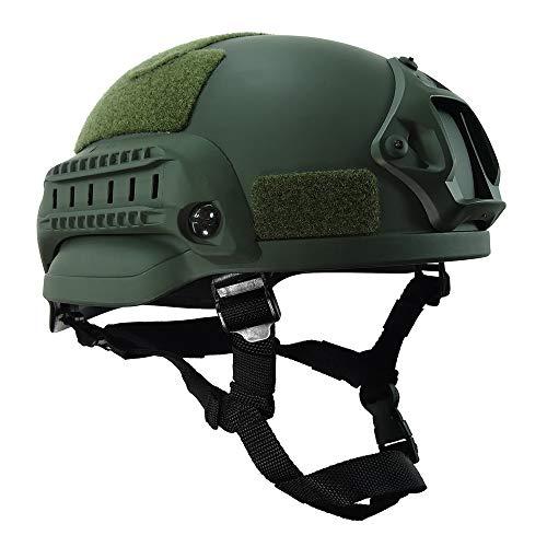WISEONUS Airsoft Casco táctico Paintball Shooting Caza Casco de protección Equipo MICH2002 Tipo Casco con riel lateral y montaje NVG (OD)