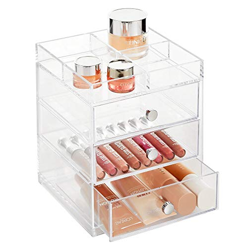 mDesign Makeup Organiser – Cosmetic Storage Unit with Tray on Top and 3 Sliding Drawers – Makeup Holder for Lipstick, Nail Varnish, Eye Shadow, Brushes and More – Clear