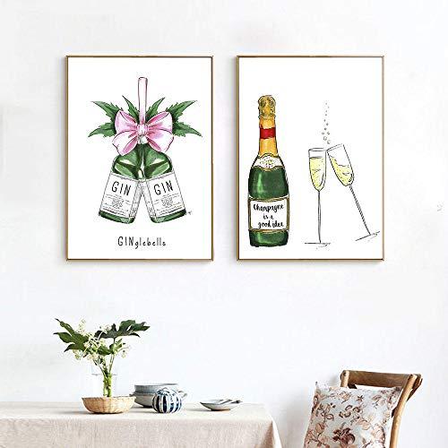 ZLARGEW Cuadros en Lienzo Arte de la Pared Botella de Vino Modular Pinturas abstractas Impresas Hogar Estilo nórdico Acuarela para decoración de Hotel Póster / 30x40cmx2 Sin Marco