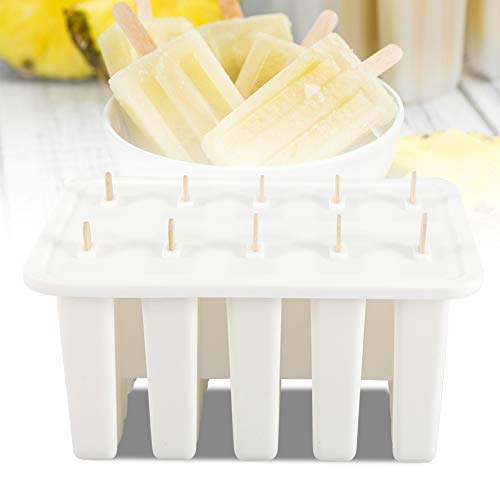 【2021 New Year's Special】Ice Cream Mold, 10 Cells Food Grade Silica Gel Popsicle Mold DIY Popsicle Ice Bar Maker Ice Cream Making Tools with 50 Sticks Best for Party Indoor and Outdoor(White)